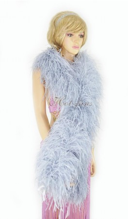 "Light gray 20 plys full and fluffy Luxury Ostrich Feather Boa 71""long (180 cm)"