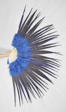 "Navy Marabou and Pheasant Feather Fan 29""x 53"" with Travel leather Bag"