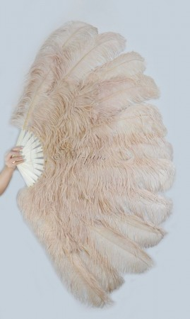 "Beige Camel XL 2 layers Ostrich Feather Fan Burlesque dancer friends 34""x 60"" with leather travel Bag"