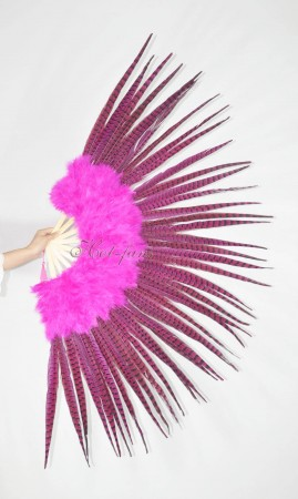 "Hot pink Marabou and Pheasant Feather Fan 29""x 53""  with Travel leather Bag"