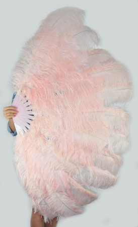 "Blush XL 2 layers Ostrich Feather Fan Burlesque dancer friends 34""x 60"" with leather travel Bag"