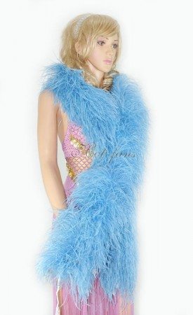 "10 plys sky blue Luxury Ostrich Feather Boa 71""long (180 cm)"