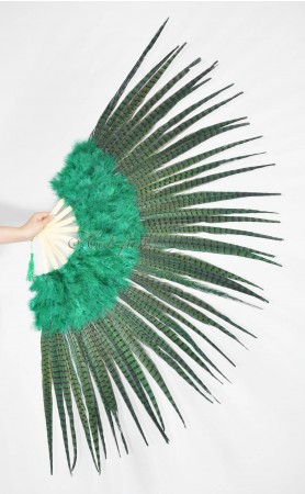 "Green Marabou and Pheasant Feather Fan 29""x 53"" with Travel leather Bag"