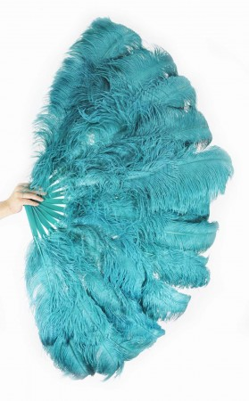 "Burlesque friend Teal 3 Layers Ostrich Feather Fan 65"" with Travel leather Bag"