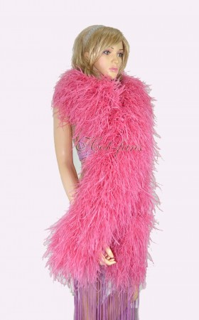 "Coral red 20 plys full and fluffy Luxury Ostrich Feather Boa 71""long (180 cm)"