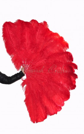 "Burlesque friend Red 3 Layers Ostrich Feather Fan 65"" with Travel leather Bag"