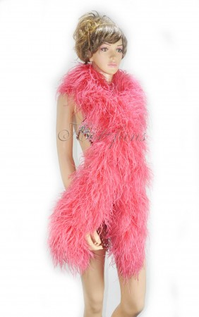 "10 plys coral red Luxury Ostrich Feather Boa 71""long (180 cm)"