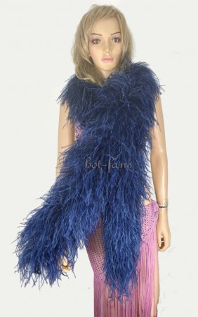 "10 plys navy Luxury Ostrich Feather Boa 71""long (180 cm)"