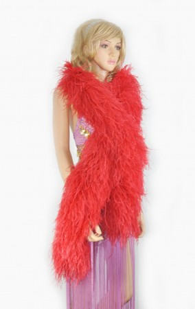 "12 ply Red Luxury Ostrich Feather Boa 71""long (180 cm)"
