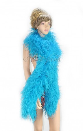 "12 ply Turquoise Luxury Ostrich Feather Boa 71""long (180 cm)"