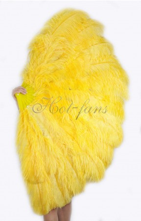 "Burlesque friend Gold yellow 3 Layers Ostrich Feather Fan 65"" with Travel leather Bag"