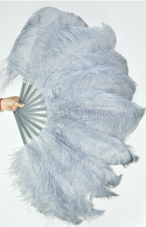 "Light gray single layer Ostrich Feather Fan 25""x 45"" with leather travel Bag"