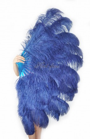 "navy XL 2 layers Ostrich Feather Fan Burlesque dancer friends 34""x 60"" with leather travel Bag"