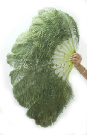 "olive single layer Ostrich Feather Fan 25""x 45"" with leather travel Bag"