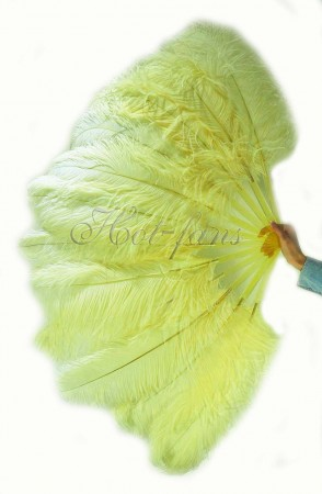 "Lemon single layer Ostrich Feather Fan 25""x 45"" with leather travel Bag"
