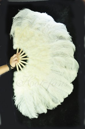 Beige Ostrich & Marabou Feathers fan Burlesque dance with with Travel leather Bag