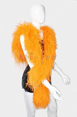 "10 plys orange  Luxury Ostrich Feather Boa 71""long (180 cm)"