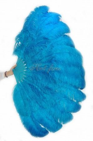 "turquoise XL 2 layers Ostrich Feather Fan Burlesque dancer friends 34""x 60"" with leather travel Bag"