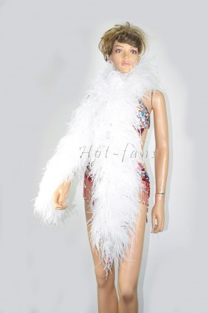 "12 ply white Luxury Ostrich Feather Boa 71""long (180 cm)"