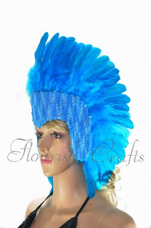 blue feather sequins crown las vegas dancer showgirl headgear headdress