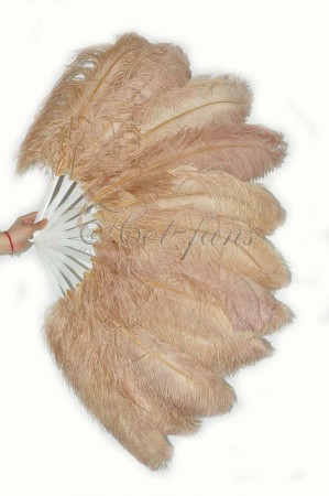 "wheat single layer Ostrich Feather Fan 25""x 45"" with leather travel Bag"