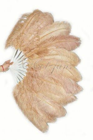 "Beige camel single layer Ostrich Feather Fan 25"" x 45""  with leather travel Bag"