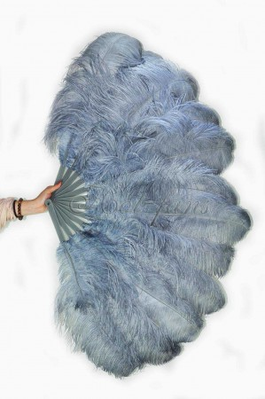 "Dark gary 2 layers Ostrich Feather Fan Burlesque dancer friends 30""x 54"" with leather travel Bag"