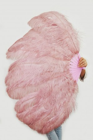 """Beige wood XL 2 layers Ostrich Feather Fan Burlesque dancer friends 34""""x 60"""" with leather travel Bag"""