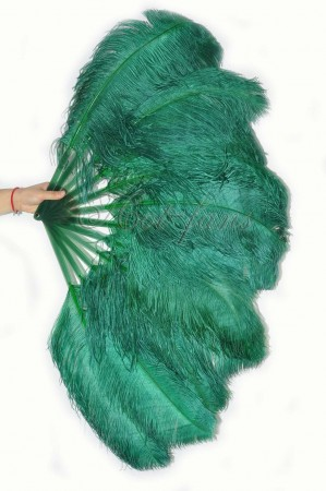 "forest green single layer Ostrich Feather Fan 25""x 45"" with leather travel Bag"
