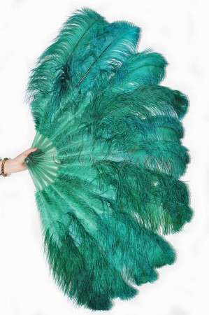 "forest green 2 layers Ostrich Feather Fan Burlesque dancer friends 30""x 54"" with leather travel Bag"