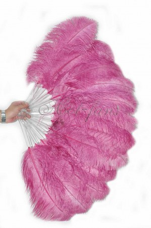 "fuchsia single layer Ostrich Feather Fan 25""x 45"" with leather travel Bag"