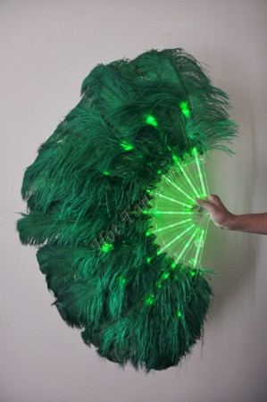 "Green Glittery LED Shine Bushy Double Ostrich Feather Fans Burlesque 28""x 53"""
