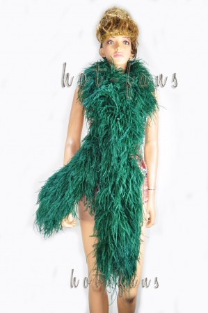 "12 ply Forest Green Luxury Ostrich Feather Boa 71""long (180 cm)"