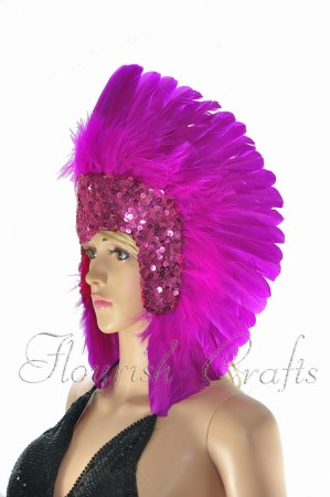 hotpink feather sequins crown las vegas dancer showgirl headgear headdress