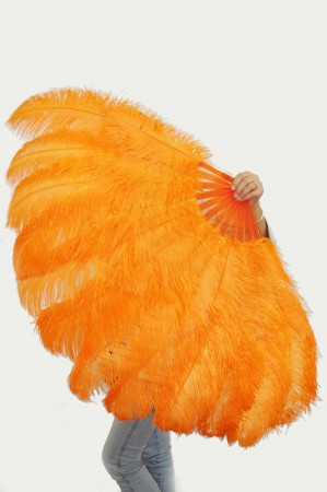 "Orange XL 2 layers Ostrich Feather Fan Burlesque dancer friends 34""x 60"" with leather travel Bag"