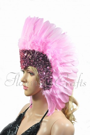 pink feather sequins crown las vegas dancer showgirl headgear headdress