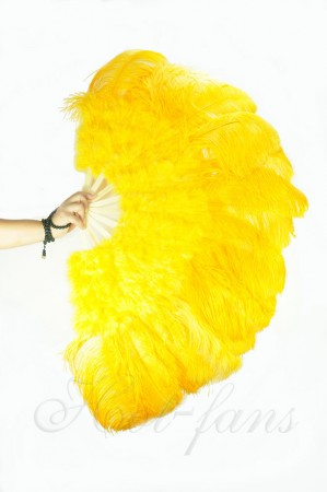 "Gold yellow Ostrich & Marabou Feathers fan 27""x 53"" with Travel leather Bag"