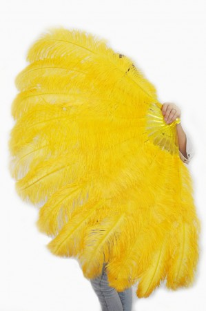 "Gold yellow XL 2 layers Ostrich Feather Fan Burlesque dancer friends 34""x 60"" with leather travel Bag"