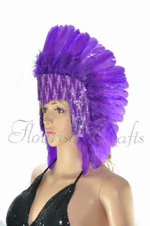 dark purple feather sequins crown las vegas dancer showgirl headgear headdress