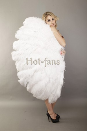 "Custom color 3 Layers Ostrich Feather Fan 65"" Burlesque dance friend with Travel leather Bag"