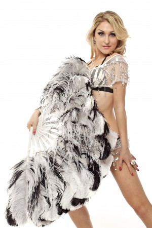 """custom colors Double side Ostrich Feather fan more bushy 48"""" with Travel leather Bag"""