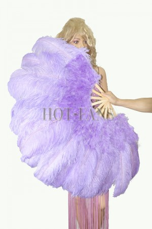 "Aqua violet Ostrich & Marabou Feathers fan 27""x 53"" with Travel leather Bag"
