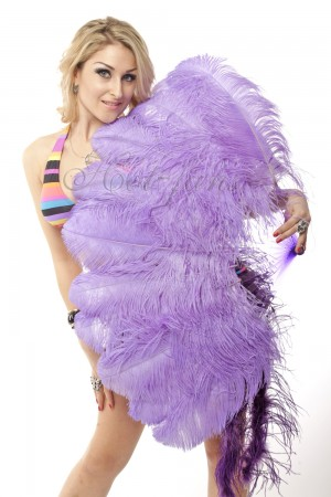 """aqua violet single layer Ostrich Feather Fan Burlesque friend 25""""x45"""" with gift box"""