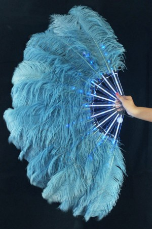 "blue Glittery LED Shine Bushy Double Ostrich Feather Fans Burlesque 28""x 53"""