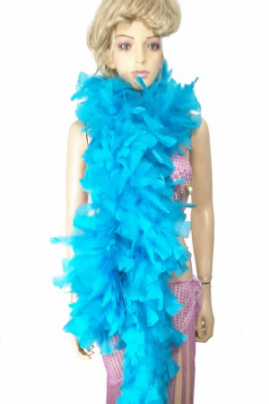 "BLUE 71 ""LONG SOFT CHANDELLE TURKET FEATHER BOA SHOWGIRL DANCE FANCY DRESS"
