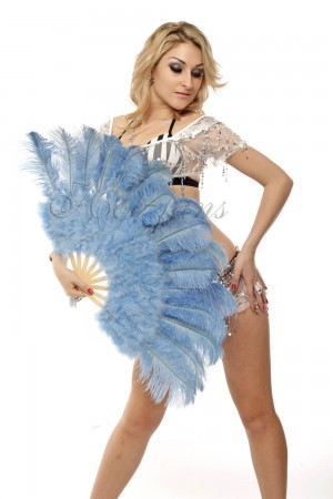 "baby blue Marabou Ostrich Feather fan primary Burlesque Dance 21""x38"" with gift box"