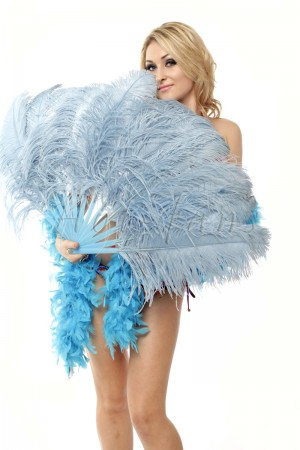 "Baby blue single layer Ostrich Feather Fan Burlesque friend 25""x45"" with gift box"