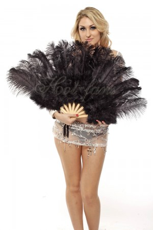"Black Marabou Ostrich Feather fan primary Burlesque Dance 21""x38"" with gift box"