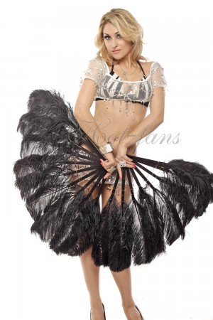 "A pair Black Single layer Ostrich Feather fan 24""x 41"" with leather travel Bag"