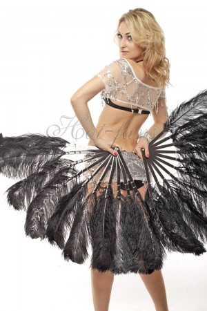 """A pair black Single layer Ostrich Feather fan 24""""x41"""" burlesque dancer with gift box"""